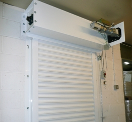 A white fire-resistant roller shutter