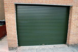 A steel roller garage door