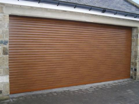 Insulated Golden Oak Roller Garage Door Autoroll